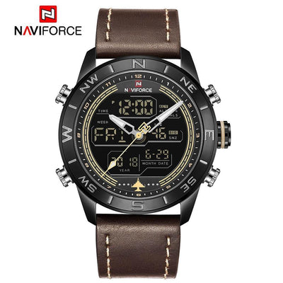 NAVIFORCE 9144 Fashion Gold Men Sport Watches Mens LED Analog Digital Watch Army Military Leather Quartz Watch Relogio Masculino
