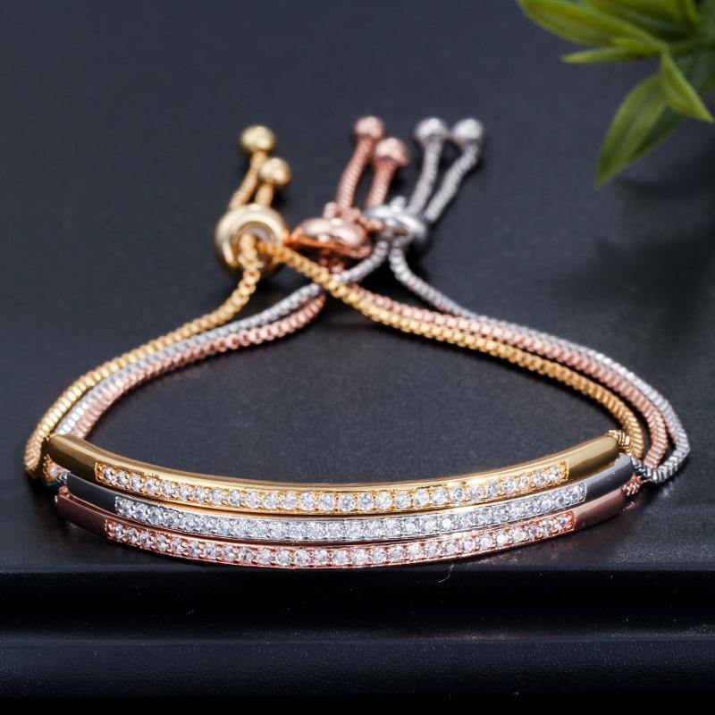 CZ Studded Sliding Adjustable Bracelet - Euforia Jewels