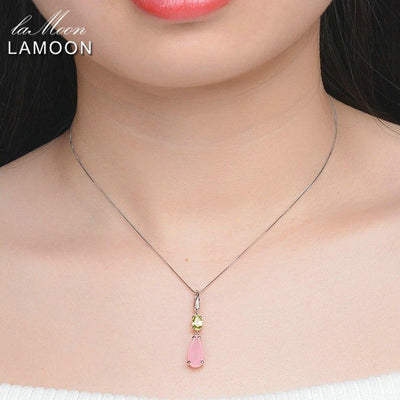 Lamoon Natural Gemstone Rose Quartz 925 Sterling Silver Chain Pendant Necklace For Women Fine Jewelry Party Necklaces NI046