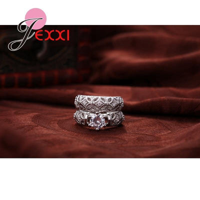Fashion 925 Sterling Silver Rings for Women Anniversary Love Ring White Gold Hollow Engagement Female Ring Sets Jewelry