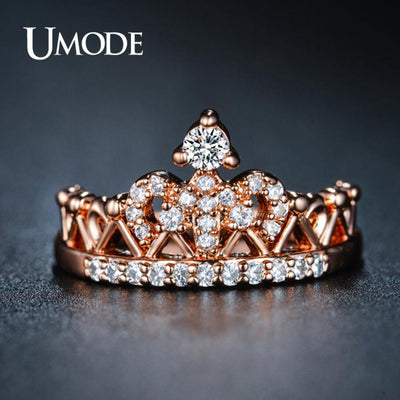 UMODE Crown Rings for Women Zircon Rose Gold Fashion Luxury Wedding Engagement Promise Rings Jewelry Accessories UR0217