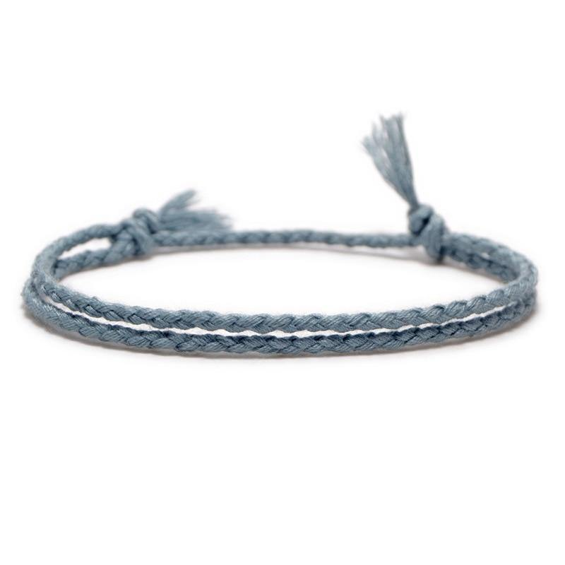Meetvii Simple Woven Cotton Rope String Bracelet Pray Yoga Handmade Pure Color Chic Tassel Bracelet for Men Women 2020 New