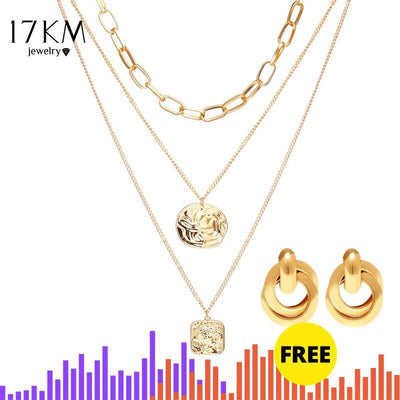 17KM Statement Coin Pendant Multi-layer Choker Necklace For Women Vintage Simulated Pearl Gold Chains 2019 New Jewelry Gifts