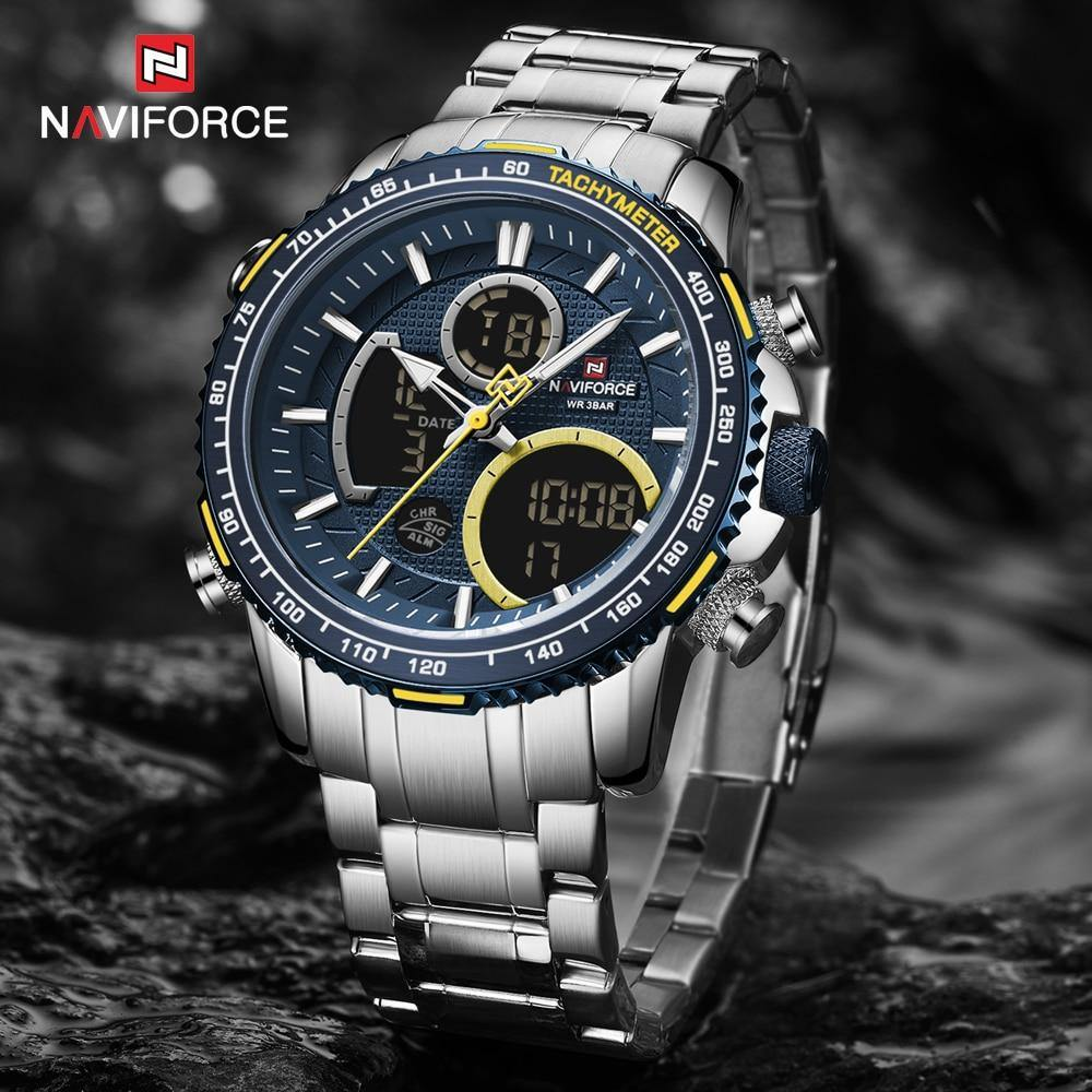 NAVIFORCE Brand Men Watch New Waterproof Big Dial Sport Watches Men Analog Digital Waterproof Quartz Wrist Watch Date Male Clock