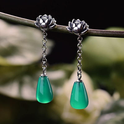 Lotus Fun Real 925 Sterling Silver Natural Agate Creative Handmade Fine Jewelry Water Drop Lotus Drop Earrings for Women Brincos