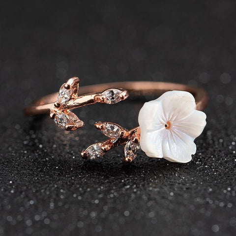 New Crystal Copper Flower branch leaf Adjustable Finger Wedding Rings for Women Rose Gold Zircon Open Ring Glamour Jewelry Gift