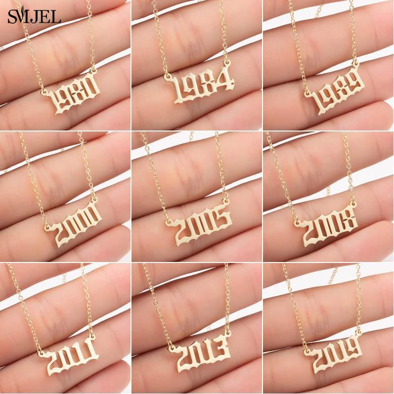 SMJEL Personalize Year Number Necklaces for Women Custom Year 1980 1989 2000 Birthday Gift from 1980 to 2019