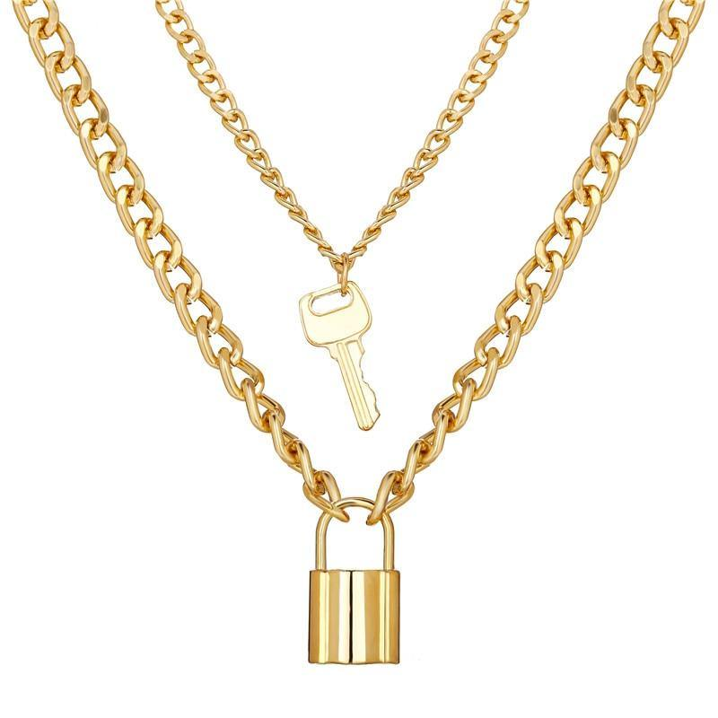 17KM Fashion Lock Pendants Necklaces For Women Gold Key Heart Multi Layer Necklace Collier Steampunk Best Couple Jewelry Gift