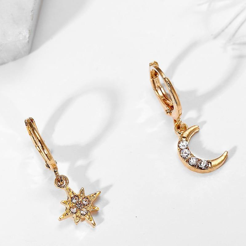 17KM New Bijoux Crystal Star Moon Sun Necklace Set 2020 Gold Dangle Earrings For Women Gift Elegant Fashion Jewelry Set Gifts