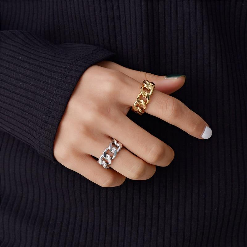 Peri'sBox Gold Silver Color Chunky Chain Rings Link Twisted Geometric Rings for Women Vintage Open Rings Adjustable 2019 Trendy