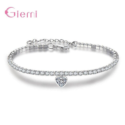 Top Vendor Korean Trend 925 Sterling Silver Rhinestone Bangle Bracelets For Women Cubic Zircon Charm Birthday Gift Jewelry