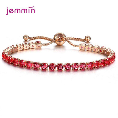 Exquisite Luxury Fashion Cubic Zirconia Romantic 925 Sterling Sliver Bracelets Gold Color Crystal Jewelry Adjustbale Bangles