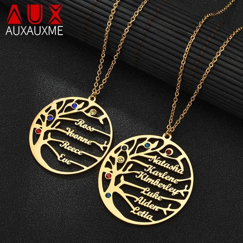 Auxauxme Personalized Tree Of Life Custom Name Necklace Stainless Steel Golden Family Tree Women Letter Necklace Christmas Gift