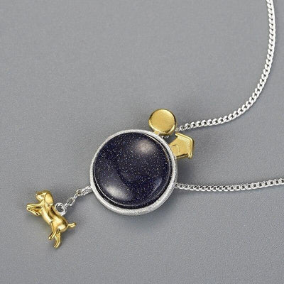Lotus Fun Real 925 Sterling Silver Natural Gemstone Handmade Fine Jewelry Dog Escape From the Earth Pendant without Necklace