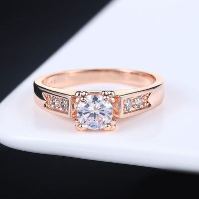 AAA+ Zircon Cubic Zirconia 4 Claw Wedding Finger Ring For Womens Rose Gold Color Crystal Fashion Brand Jewelry aneis DWR051M