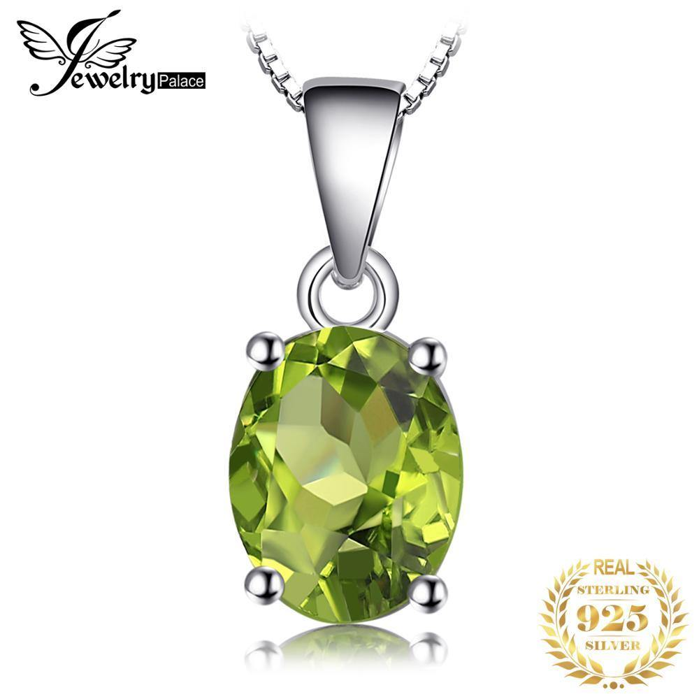 Natural Peridot Pendant Necklace 925 Sterling Silver Gemstones Choker Statement Necklace Women silver 925 Jewelry No Chain