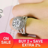 trendy luxury big 925 sterling silver engagement Ring for Women and ladys christmas gifts with cushion zirconia wedding R4898