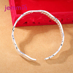 Elegant Pulseiras 925 Sterling Silver Nubuck Water Wave Shape Cuff Bracelets Simple Opening Bangle Women's Party Jewelry