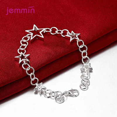 Fashion 925 Sterling Silver Stars Charm Bracelets Bangles Lobster Clasps Bracelet Women Femme Fashion Jewelry 19.5CM Length