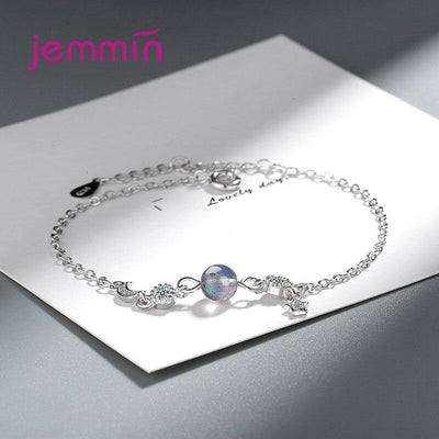 Romantic 925 Sterling Silver Zircon Moon Star Bracelets For Women Pulseras Party Daily Wristband Jewelry Birthday Gift