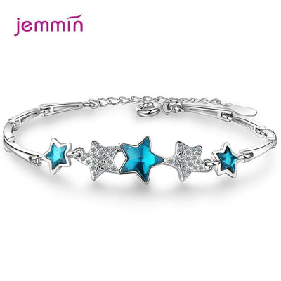 Hot Sale 925 Sterling Silver Jewelry Bracelet Stars Pendant Bracelets For Women Gift Bijoux Korean Simple Party Birthday Gift