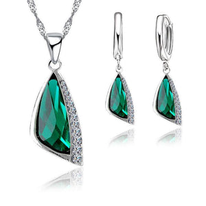 New 925 Sterling Silver Austrain Crystal Pendant Necklace Hoop Earring Set  Crystal Jewelry Set Free Shipping Gift