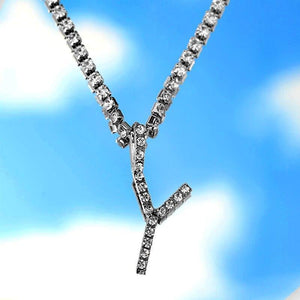 A-Z Custom Rhinestone Tennis Chain Letter Necklace for Women Men HipHop Jewelry Alphabet Pendant Necklace Choker Chain Wholesale