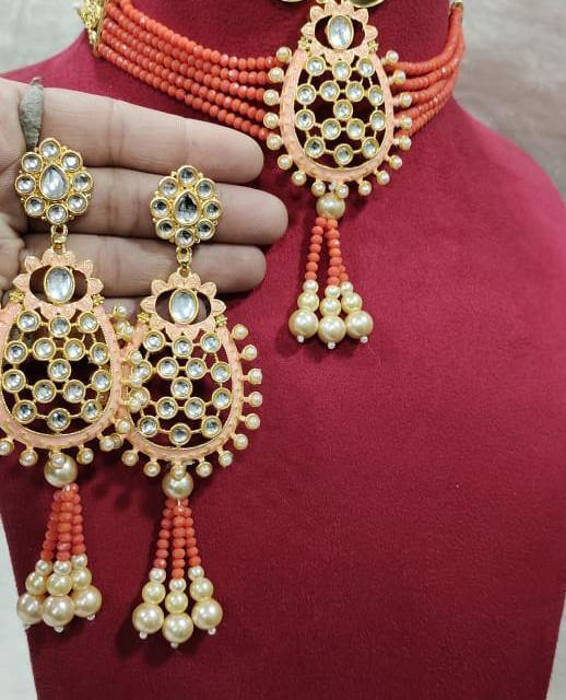 Gold plated Kundan Earrings Necklace Set multicolor Stones