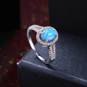 Oceanic Opal Circular Pav'e Halo Ring - Euforia Jewels