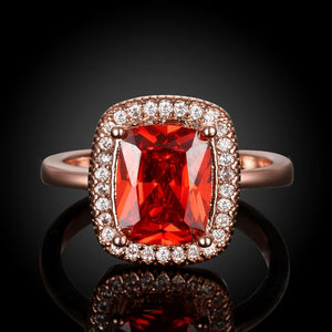 Ruby Emerald Cut 18K Rose Gold Halo Ring - Euforia Jewels
