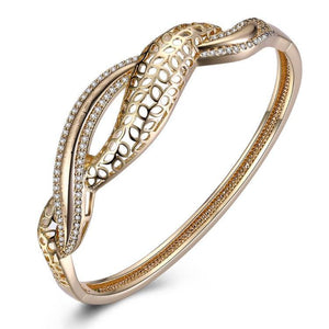 Swarovski Crystal 18K Gold Plated Wave after Wave Bangle - Euforia Jewels