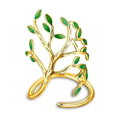 Almei Brass 2018 Spring Green Tree Rings For Women Gold Color Engagement Ring Female Gift Jewellery Ring Dropshipping Sale HR303 - Euforia Jewels