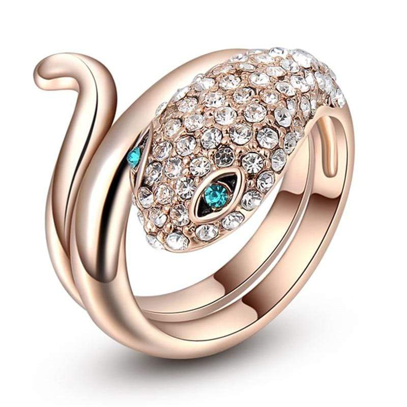 Austrian Crystals studded Rose Gold Color Snake Ring - Euforia Jewels