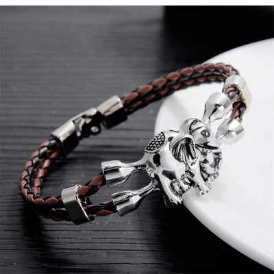 AZIZ BEKKAOUI Unique Bracelets for Men Stainless Steel Leather Bracelet Animal Friendship Jewelry Gift - Euforia Jewels