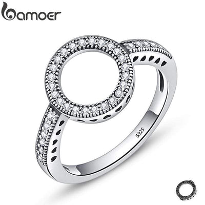 BAMOER 100% Genuine 925 Sterling Silver Forever Clear Black CZ Circle Round Finger Rings for Women Jewelry Christmas Gift SCR041 - Euforia Jewels