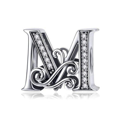 BAMOER 2019 NEW 925 Sterling Silver Vintage A to Z Clear CZ 26 Letter Alphabe Bead Charms Fit Bracelets & Bangles Jewelry BSC030 - Euforia Jewels