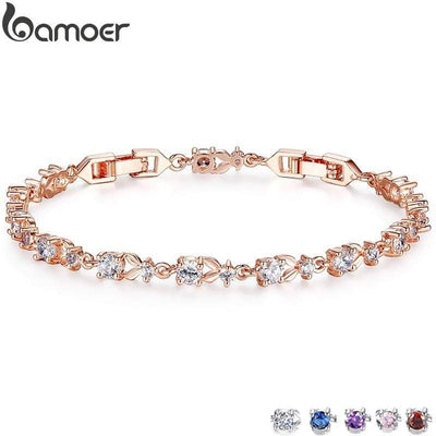 BAMOER 6 Colors Luxury Rose Gold Color Chain Link Bracelet for Women Ladies Shining AAA Cubic Zircon Crystal Jewelry JIB013 - Euforia Jewels