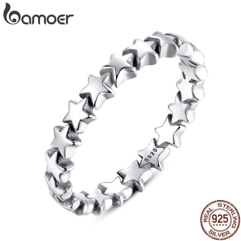 BAMOER Star Trail Stackable Finger Ring For Women Wedding 100% 925 Sterling Silver Jewelry 2018 HOT SELL PA7151 - Euforia Jewels
