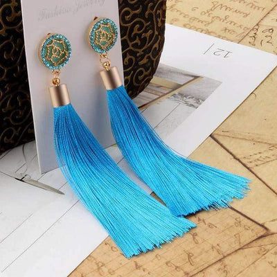 Bohemian Long Tassel Earrings for Women Vintage Statement Drop Earrings Pink Blue Black Green pendientes Jewellery Fashion 2018 - Euforia Jewels