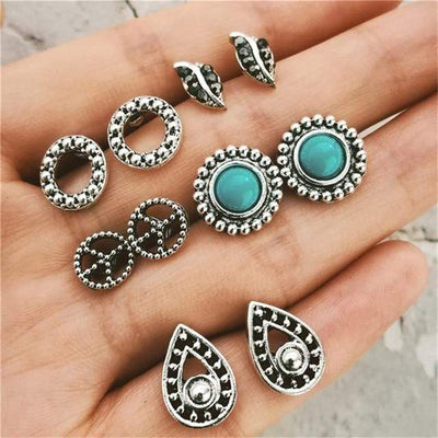 Bohemian Starfish Wave Turtle Shell Stud Earrings Set For Women Vintage Rudder Heart Round Earring Statement Jewelry 2018 New - Euforia Jewels