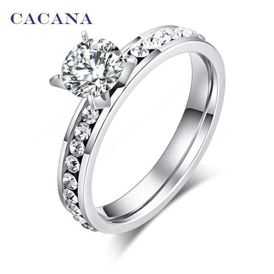 CACANA Titanium Stainless Steel Rings For Women Circle CZ  Fashion Jewelry Wholesale NO.R174 - Euforia Jewels