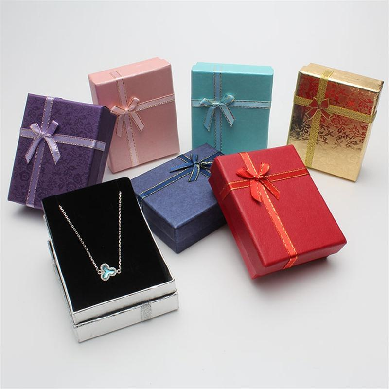 DoreenBeads 9*7*3cm Shiny Jewelry Box Necklaces Earrings Bracelets Boxes Gift Packing Wholesale Display Classic Bowknot 1 Piece - Euforia Jewels