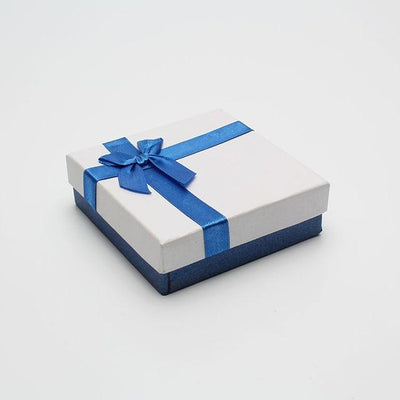 DoreenBeads Blue & White Jewelry Packaging Box Ribbon Bowknot Gift Case Boxes Display Classic New Year Valentine's Day 1 Piece - Euforia Jewels