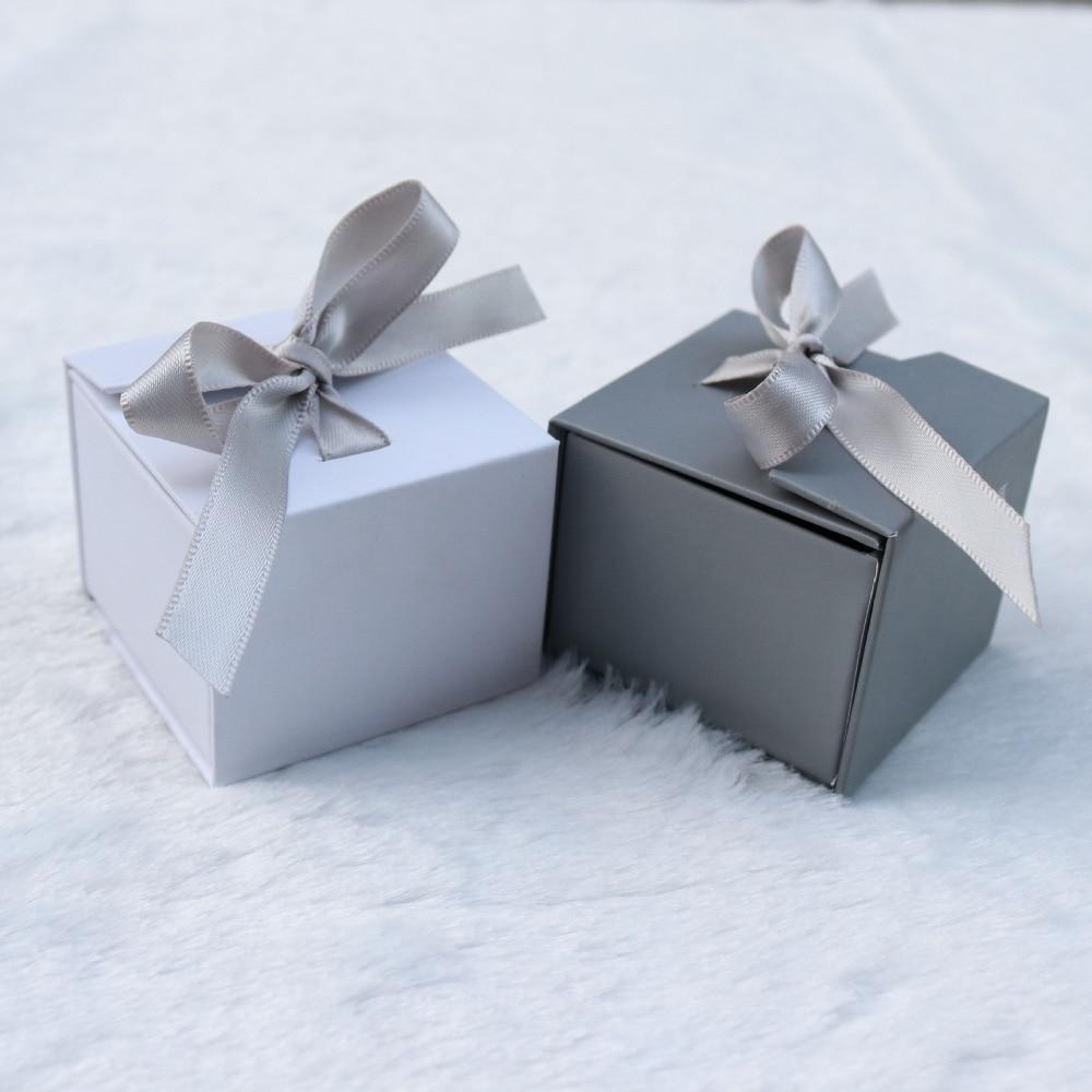 DoreenBeads Jewelry Boxes Paper Gray White Color Ribbon Bowknot For Gift Present Ring Earring Packing Display 5*5*4cm, 1 Piece - Euforia Jewels