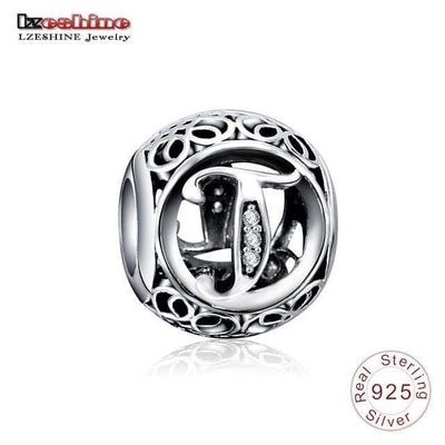 Dropshiping LZESHINE Authentic Sterling Silver 925 Crystal Alphabet Letter A-Z Bead Charm Fit Original Pandora Charm Bracelets - Euforia Jewels