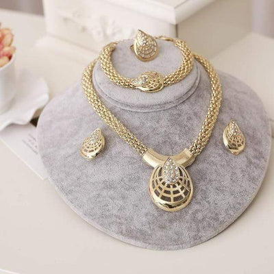 Dubai Gold Jewelry Sets Nigerian Wedding African Beads Crystal Bridal Jewellery Set Rhinestone Ethiopian Jewelry parure - Euforia Jewels