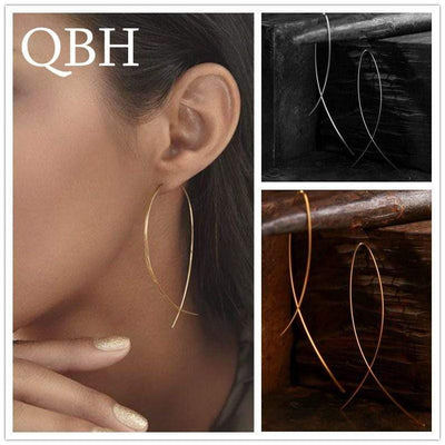 EK143 European & American Simplicity Fish Shaped Stud Earrings for Women Hyperbole Jewelry Copper Wire Brincos de gota Feminino - Euforia Jewels