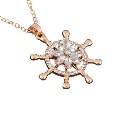 Fashion Creative Rotation Necklace Style With Diamond Flowers Rotating Necklace - Euforia Jewels