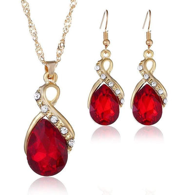 Finmind Graceful Necklace Earring Sets Drop Crystal Diamond Jewellery Sets Women Girls Gift for Wedding Christmas Birthday (Red) Jewellery (45cm) - Euforia Jewels