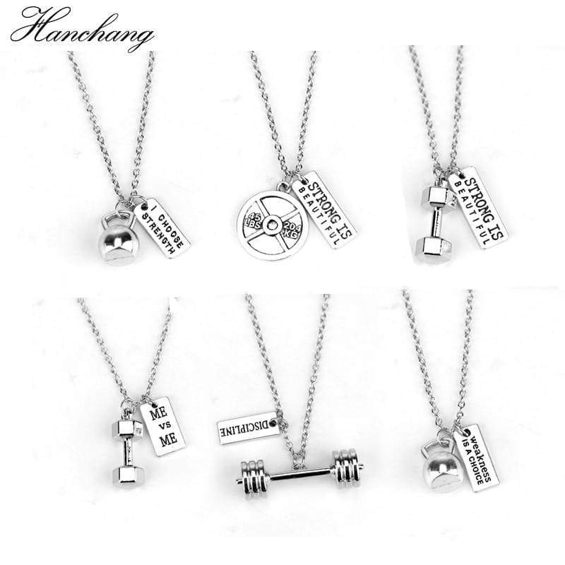 Fitness Gym dumbbell silver Charm Pendant necklace strong is beautiful women Men necklace fashion sports Jewelry Men Gift - Euforia Jewels
